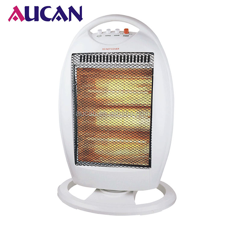 1200W Oscillating Halogen Heater With Remote Control Electric White Portable