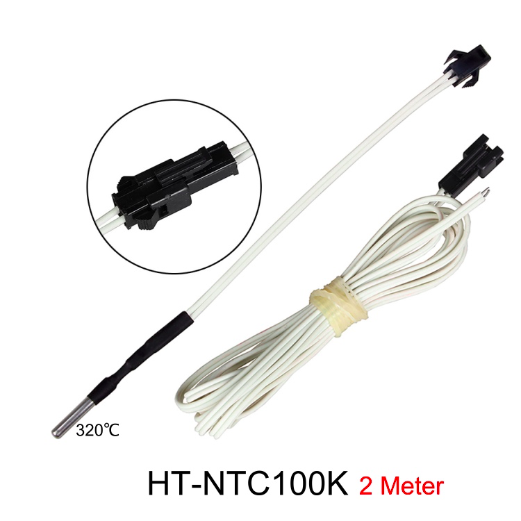 GIULY HT-NTC100K Thermistor Temperature Sensor NTC 3950 Simple Replacement High Temperature Thermistors Sensor 2 Meters