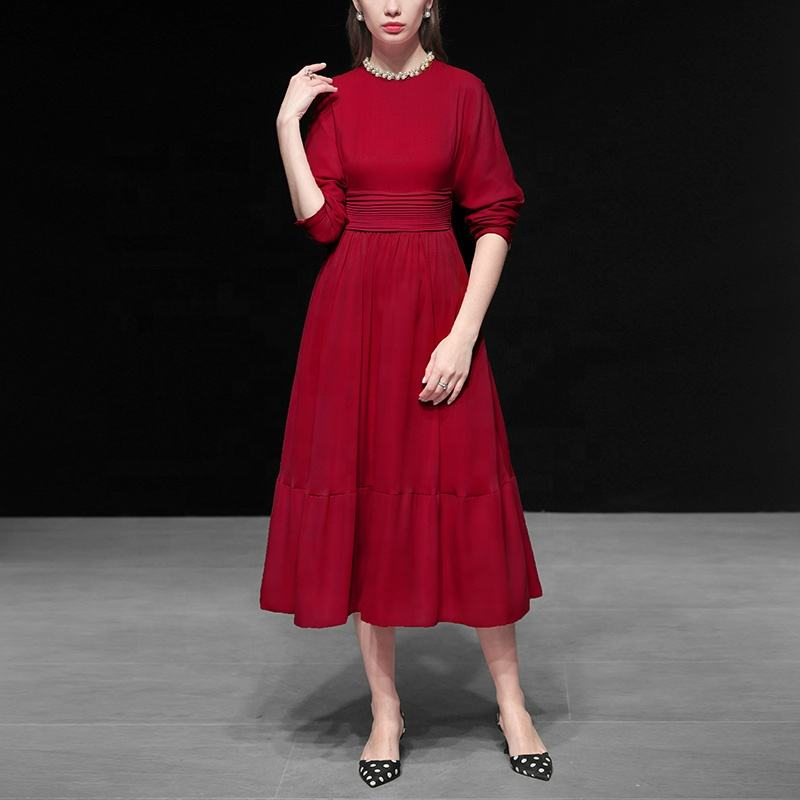 Vintage Women Elastic Waist Custom Label Red Swing Fitted Retro Long Hepburn Dress 2019