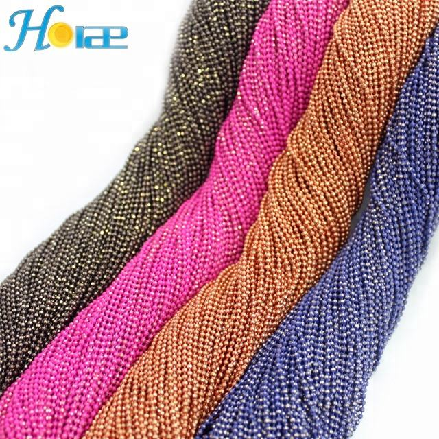 1.5mm factory supply cheap colorful decorative brass metal ball chain roll for clothing decoration