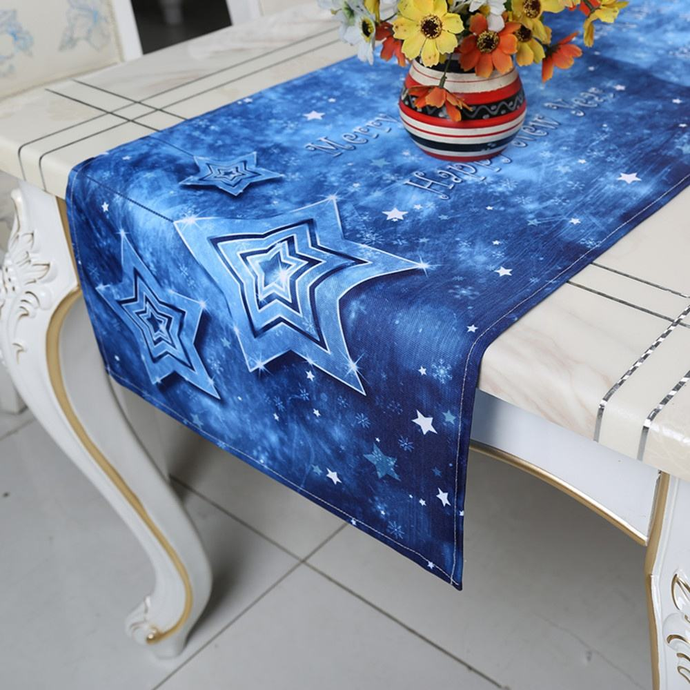 Blue Table Runner with Stars Decorated with the Theme of Merry Christmas and Happy New Year Made by Polyester Print Table Runner