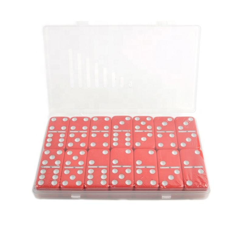 Customized colorful melamine tools toy domino train game double six dominoes set