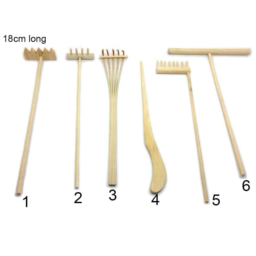 China Factory Wholesale Desktop Mini Zen Garden Rake Hand made Bamboo zen garden rake Zen Garden Leaf Grabber Rake