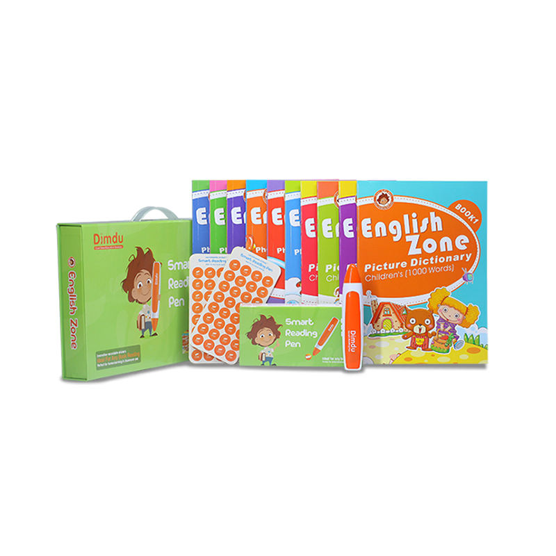 Reading Pen and recordable stickers with series of English zone books 10 vols by Famous Learning Brand Dimdu