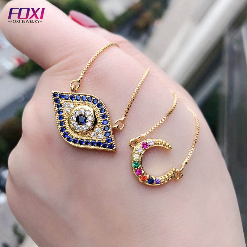 wholesale custom copper gold plated cz blue eye necklace