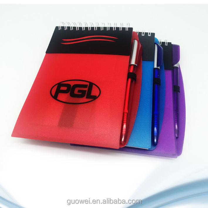 Cheap factory Promotional plastic cover Spiral Notebook/ memopad with sticky notepad