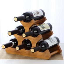 Free sample home decoration 6 bottle holder storage solid wood wine rack