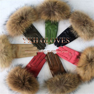 Ladies Lambskin Leather Gloves Fox Fur Genuine Fur Cuff