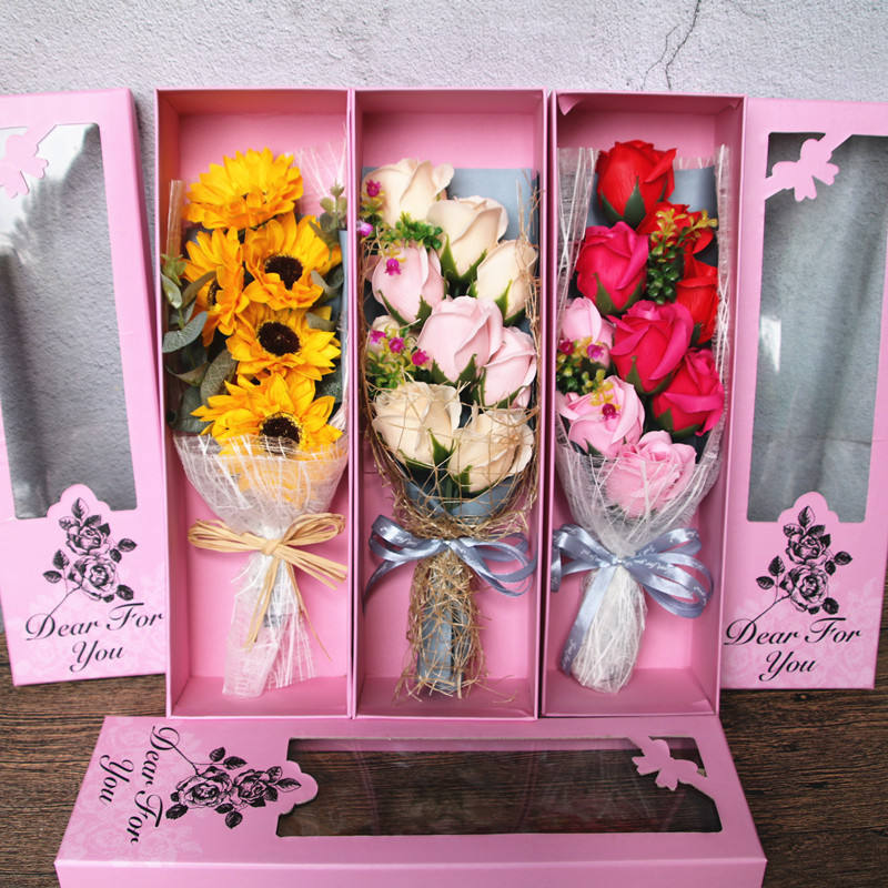 Romantic Gift Artificial Soap Flower Gift handmade soap rose flowers bouquet