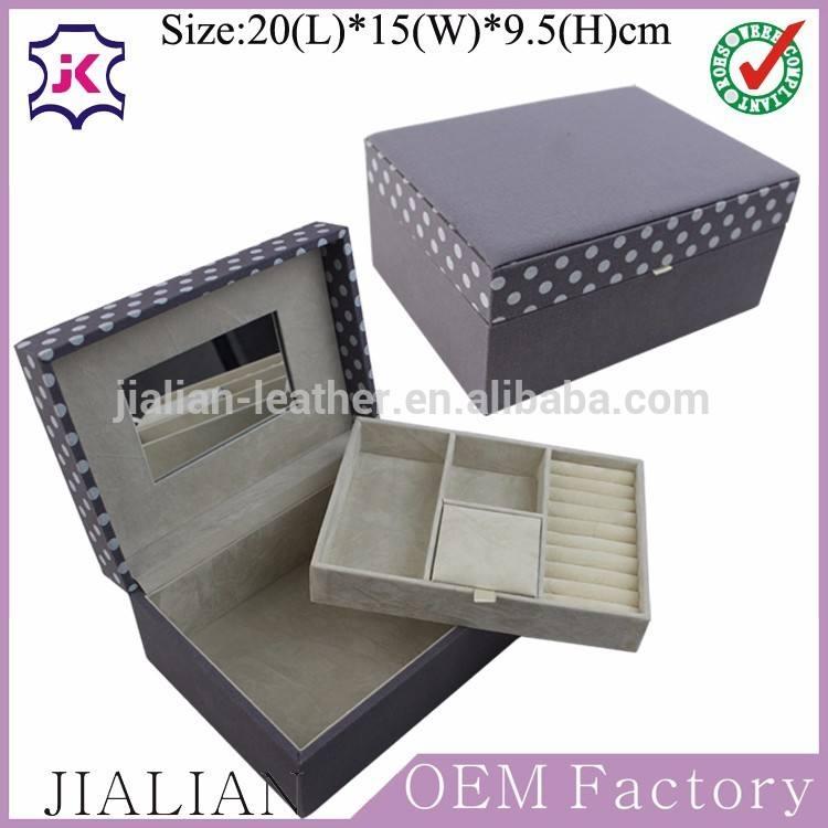 Fait à la main boîte à bijoux en cuir <span class=keywords><strong>doublure</strong></span> tissu tissu de luxe couvert boîte à bijoux