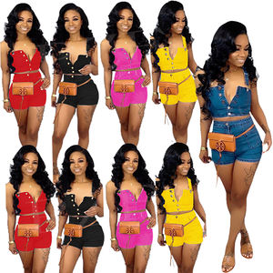 2019 sommer Sexy denim straps frauen 2 stück casual jeans Kurze hosen set mode hot sexy
