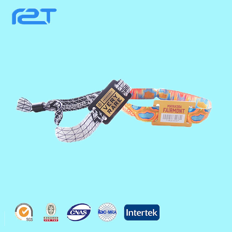 2019 professional rfid bracelet nfc ticket woven wristband/bracelet with QR code