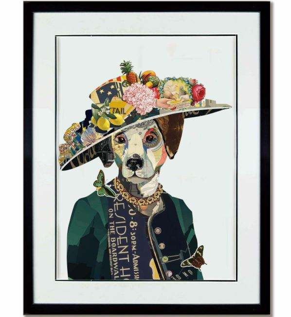 Modern Ms.Dog Animal Painting Paper Wall Paper Collage Art Glass Cover Frame Home Decor
