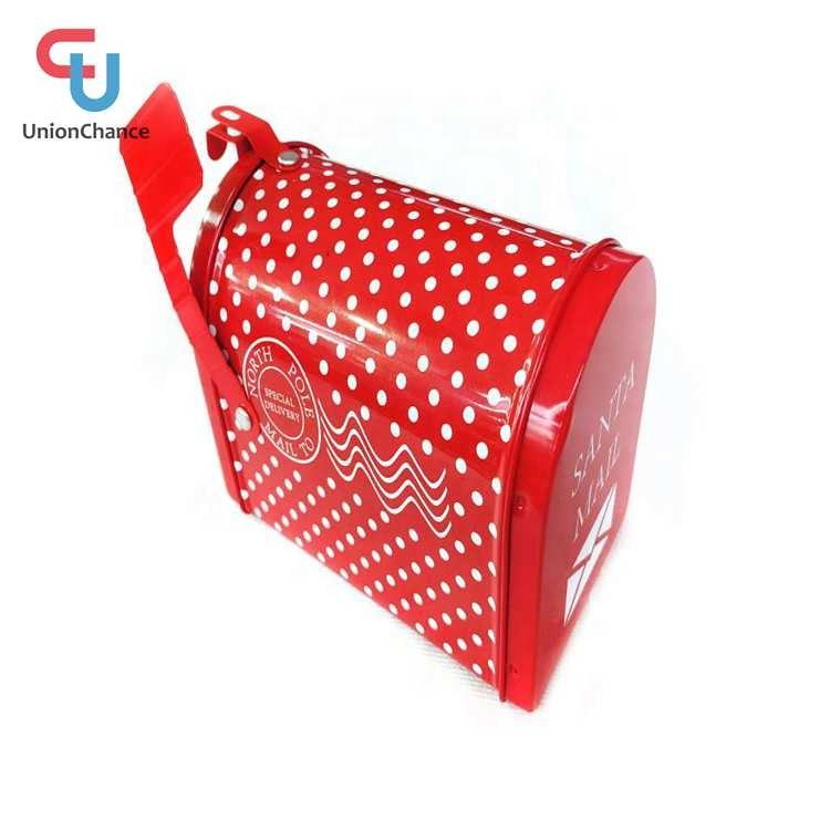 Christmas Theme White Dot Santa Mail Box Tin Can Food Grade Tin Can