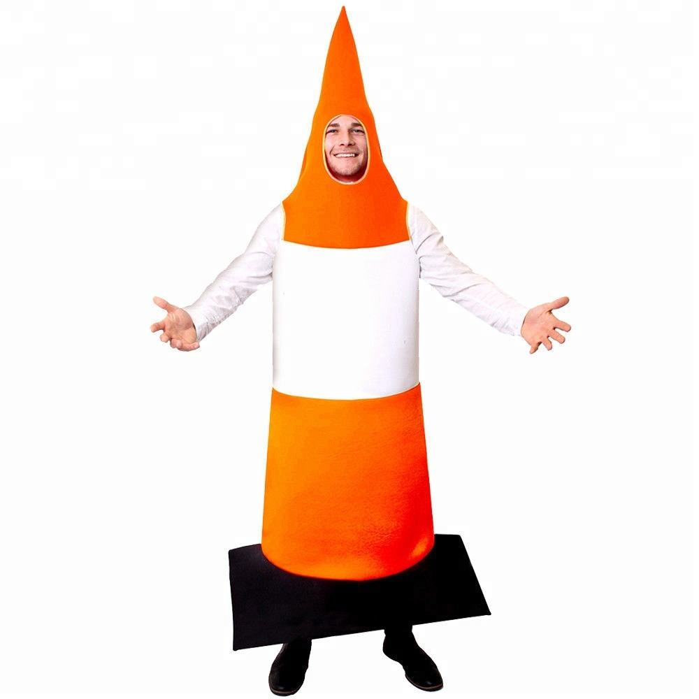 Road Cone Halloween Fancy Dress Traffic Cone Costume Stag Night Adult Funny Outfit Orange SA2104