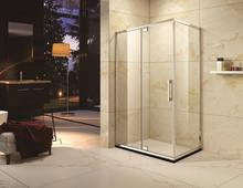 stainless steel frame stainless steel hinge pivot door two fix and one open rectangle shape shower enclosure