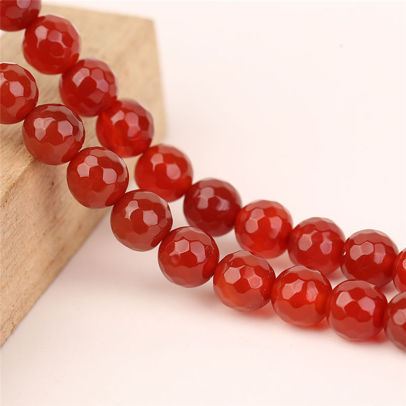Christmas Gift Natural Stone 10ミリメートルRed Faceted Round Line Agate Loose Gemstone Beads