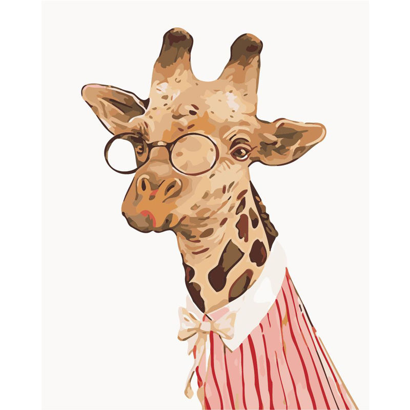 3d Oil Painting On Canvas Mr. Giraffe Wearing Glasses Digital Oil Painting Home Decor Figure Wall Pictures