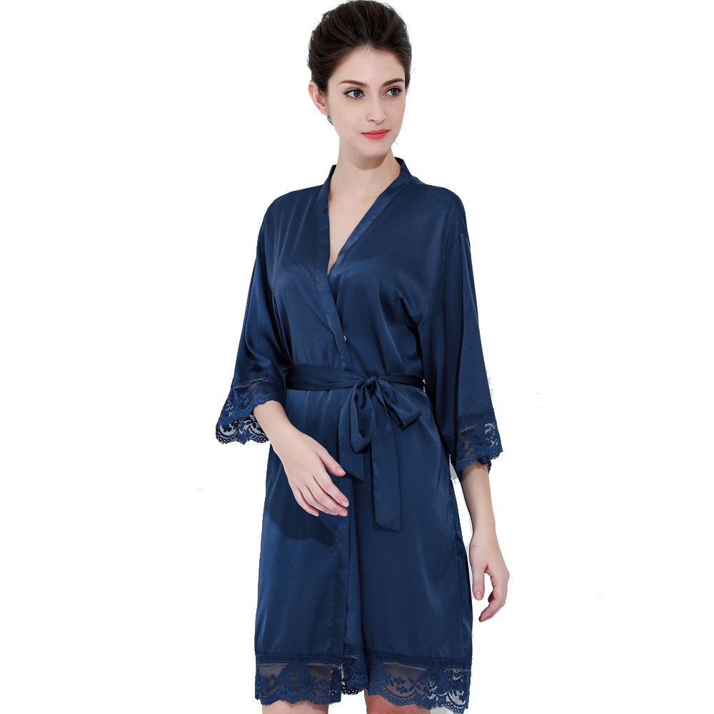 805 Solid Nave Blue Polyester Satin Silk Robes For Ladies