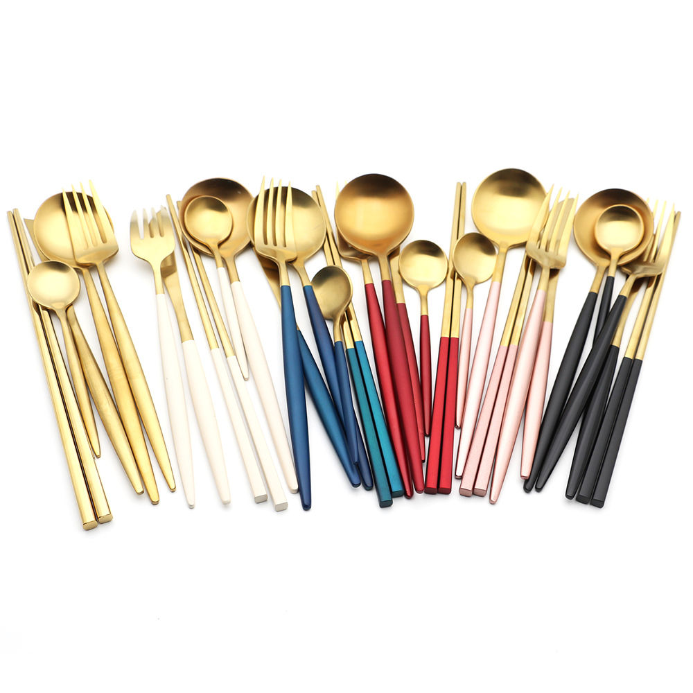 Gold And Black Electroplated Matte Custom Color Logo Hotel Wedding Flatware 304 Stainless Steel Cutlery Set