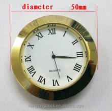 50mm metal watch insert clocks for crystal clock gold roman arabic numbers silver gold metal bezel battery clock inserts