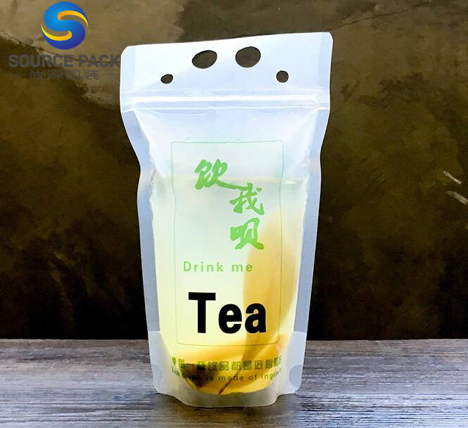 stand up zipper beverage pouches plastic drink bag with straw