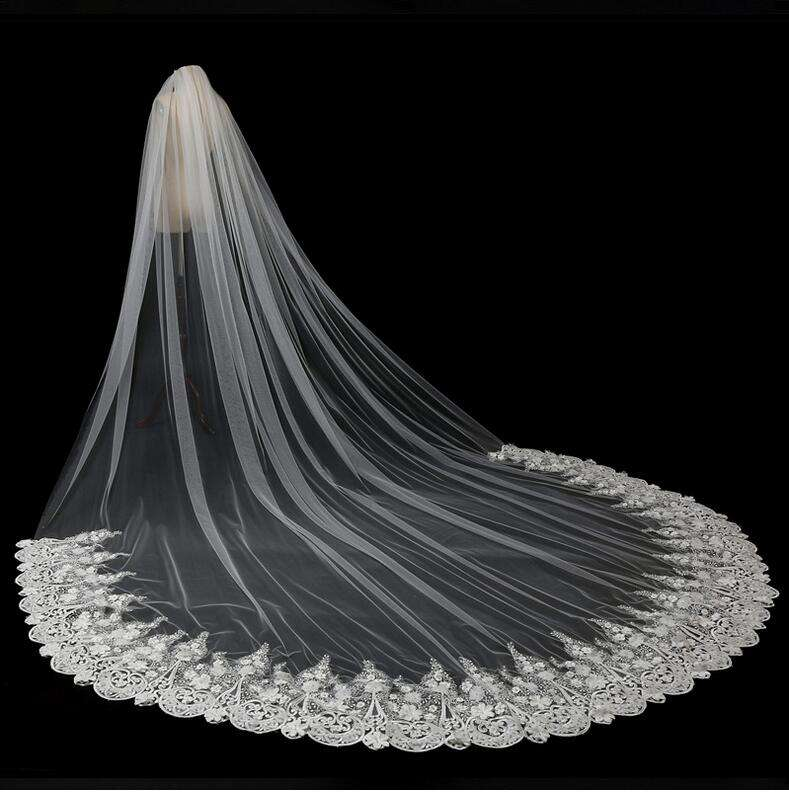 5 Meter Lange Wedding Veils Applique Bloemen Kralen Bridal Veils 0ne Layer Luxe 2018