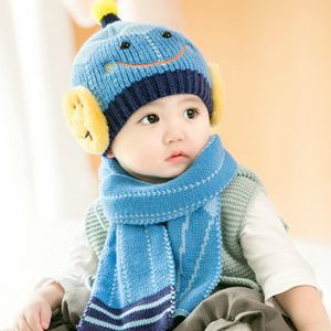 Winter Smiley Pencil Woolen Hat Lovely Infant Toddler Girl Boy Beanie Cap Warm Baby Hat+Knitted Scarf Set