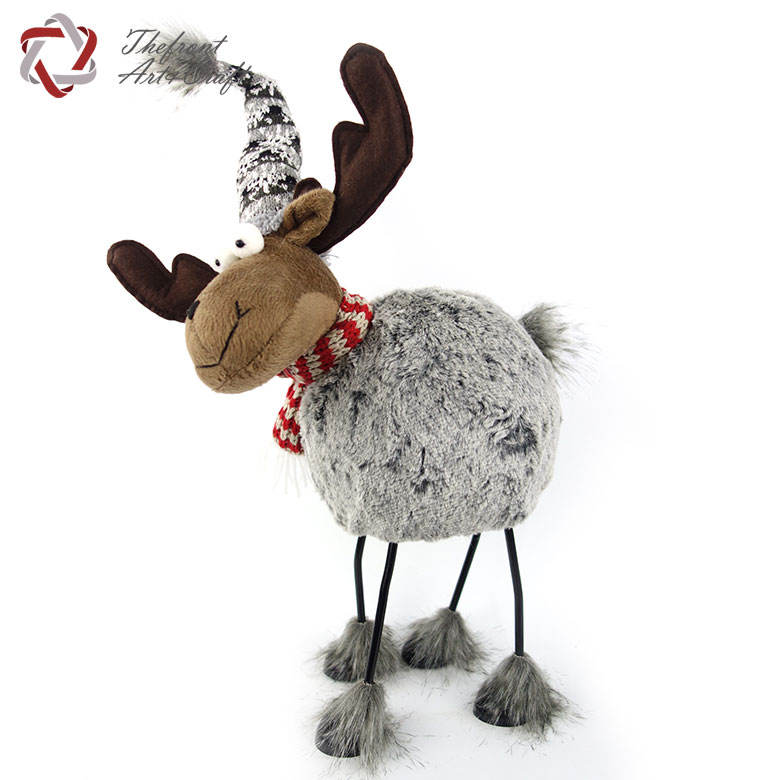 Gray snowflake hat fabric doll toys metal stand Christmas reindeer decoration