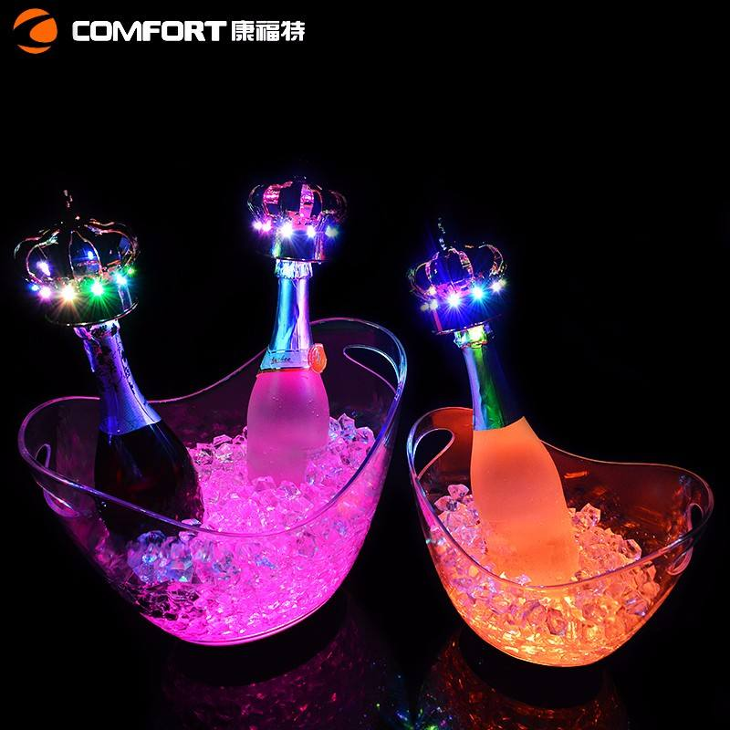 rechargeable champagne acrylic plastic led lighted illuminated cooler