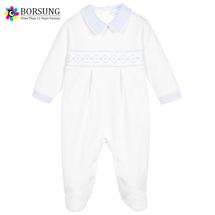 Quilited 100% Cotton Newborn Baby Clothes Long Sleeve Handmade Smocked Plain White Baby Romper