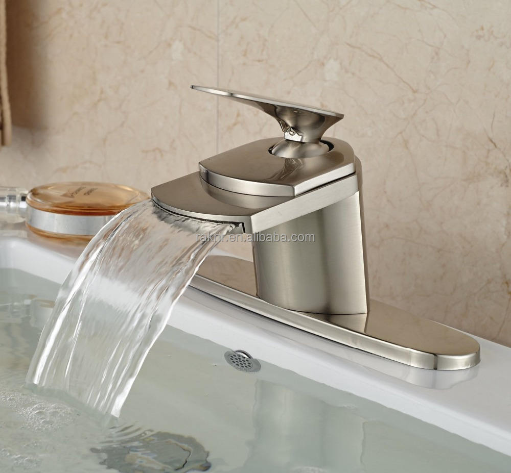 No.M5100 Cheap Desk Mounted Brushed Bathroom Single Handle Waterfall Brass Basin Faucets