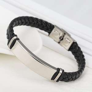 Handmade Leather Braided Bracelet Wholesale Price DIY Engraved Stainless Steel Bracelet Mens Jewelry