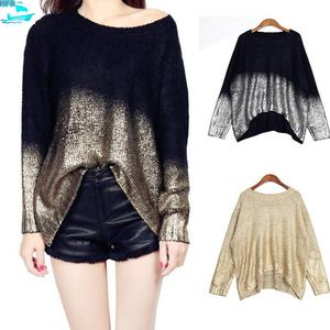 HFS1685B Europe Fashion Hot Stamping Women Loose Sweaters
