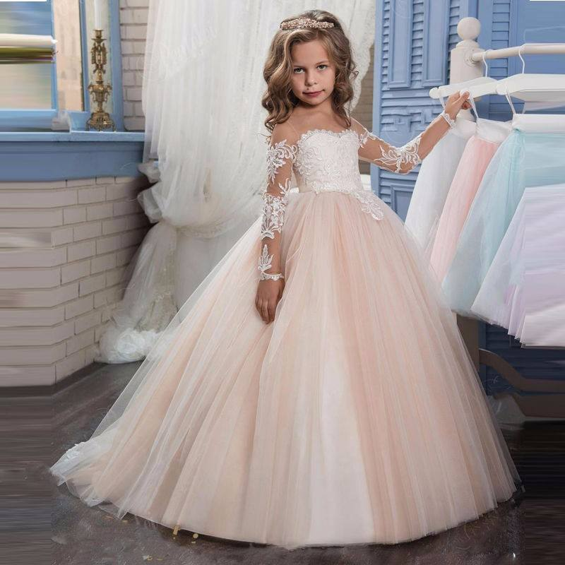 ZH1980G Lucu Panjang Lengan Princess Ball Gown Flower Girls 'Dresses Renda Appliques girl Pageant Gown