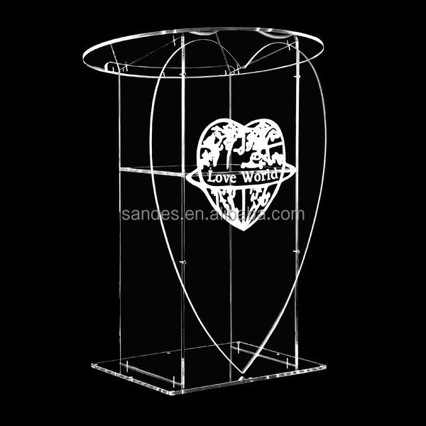 High Organic Glass Heart Shape Podium Pulpit with Heart Side for Church