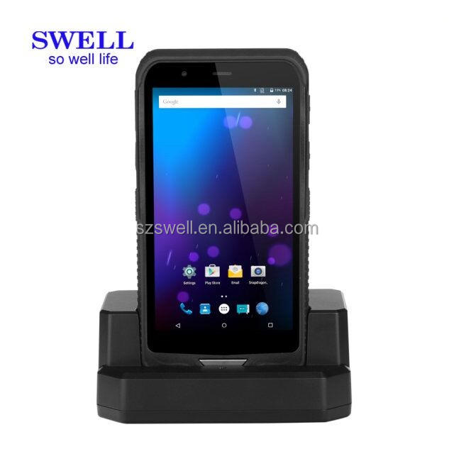 Q62 6 zoll handy Qualcomm 8909 android tablet mit irda OS chip Scanner 1d2d docking station