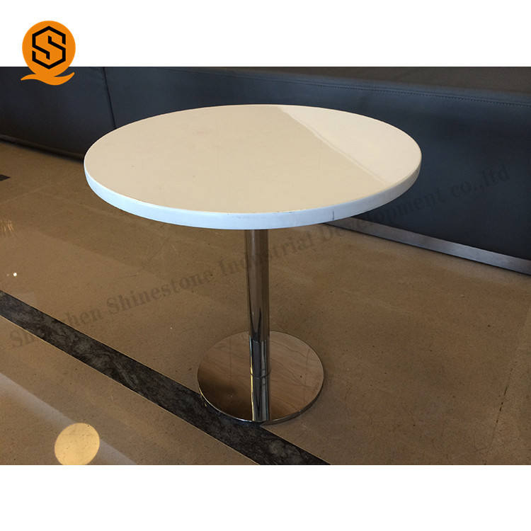 wholesale restaurant tables round table artificial stone top stainless steel legs outdoor dining table for restaurant