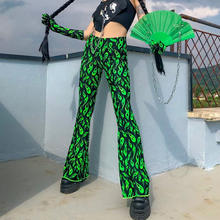 Free Shipping high fashionable  women street wear Geen Floral Print casual Long flare trousers pants