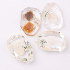 New Fashion 2020 trend cabochons with flowers clear For Earrings patch