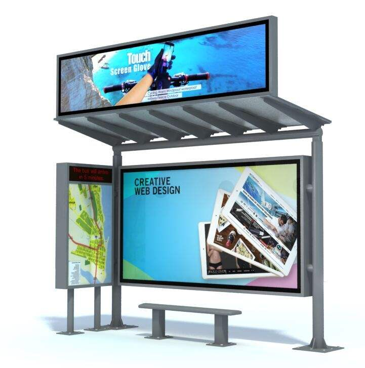 Solar Power Bus Shelter Stop with LED Display Advertising Billboard