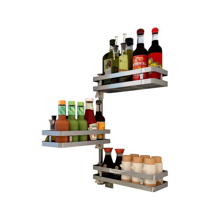 High Quality 304Stainless Steel Wall Corner Shelf Kitchen Organizer 3-layer Rotating Spice Rack Storage
