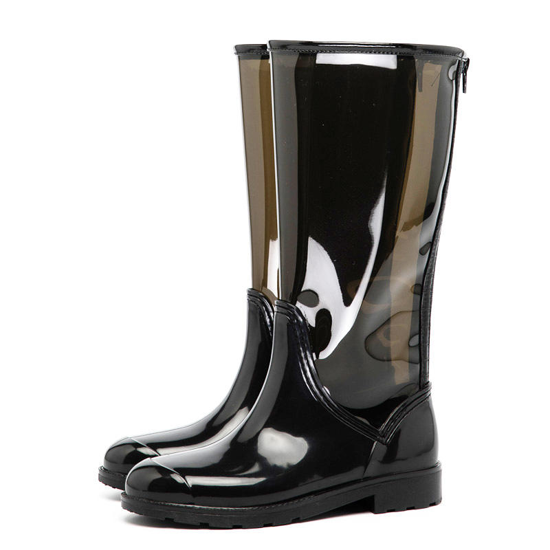 Newest Fashion Style PVC Shoes Transparent EVA Upper Waterproof Women Rain Boots Manufacturer