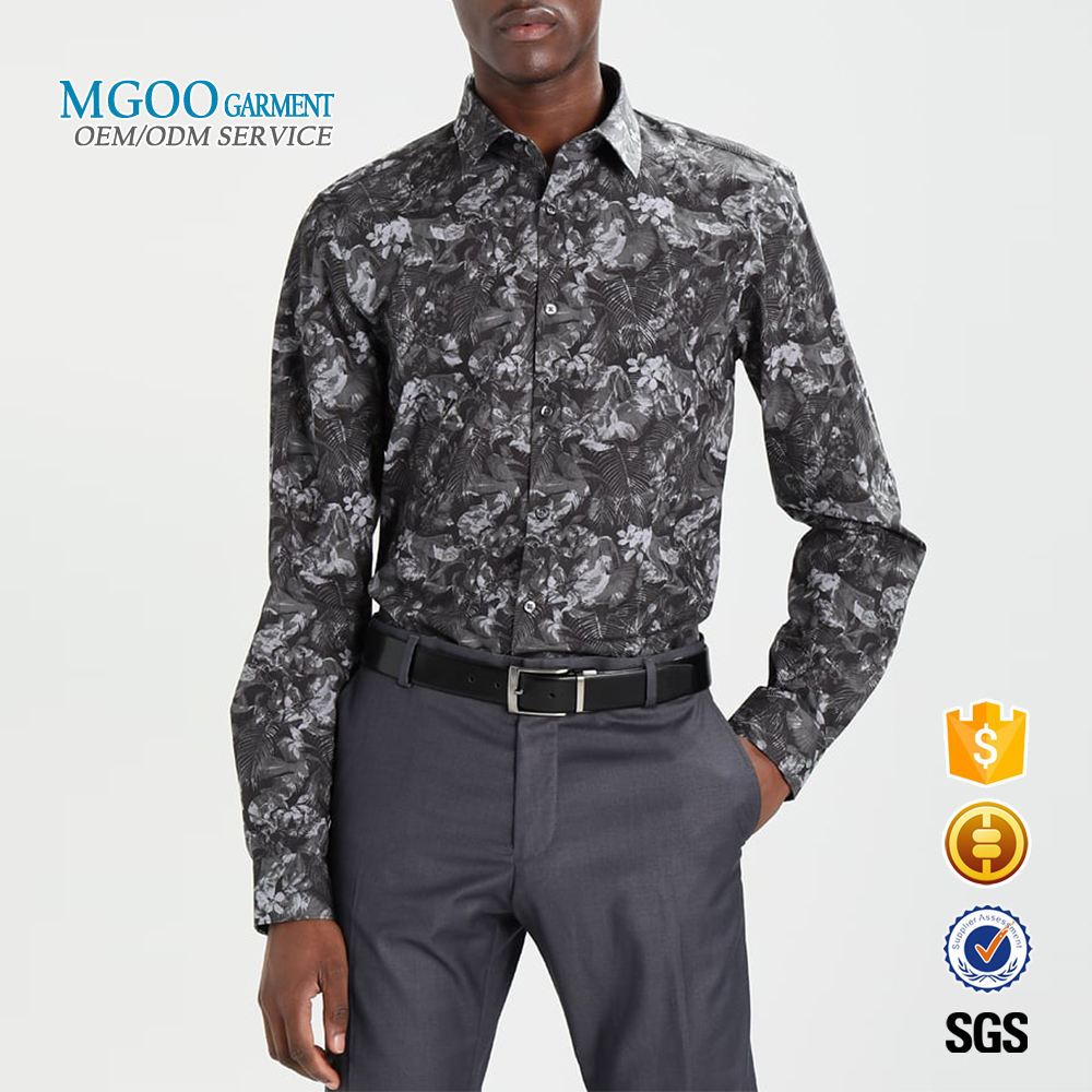 2018 Latest custom mens floral shirt Paisley slim fit long sleeve shirt Vintage grey cotton dress shirt
