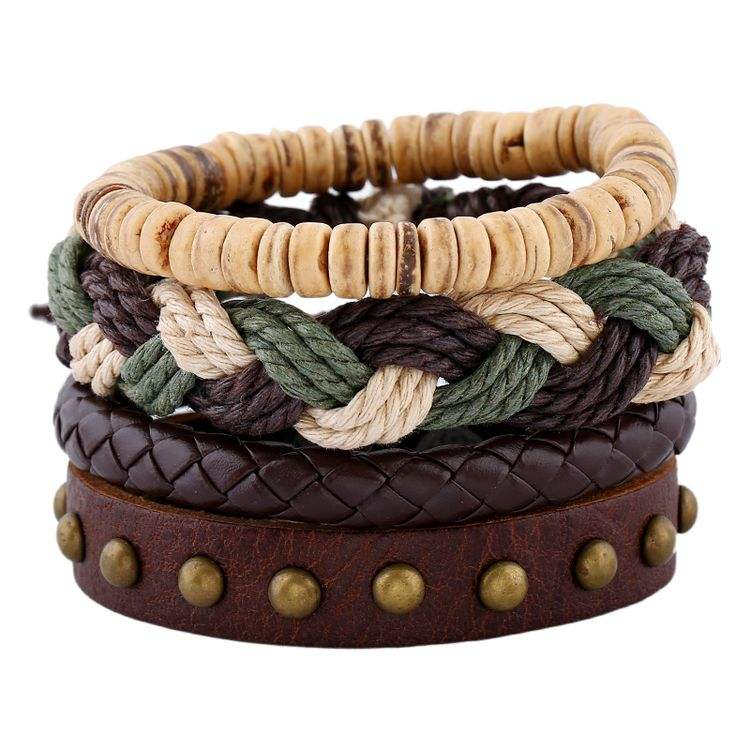 New 1 Set Men's bracelet Women Vintage Multilayer Leather Bracelets bangles Jewelry pulsera Hombre