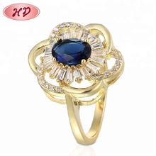 Latest Design Rings Jewelry Women Blue Gemstone Diamond Flower Ring