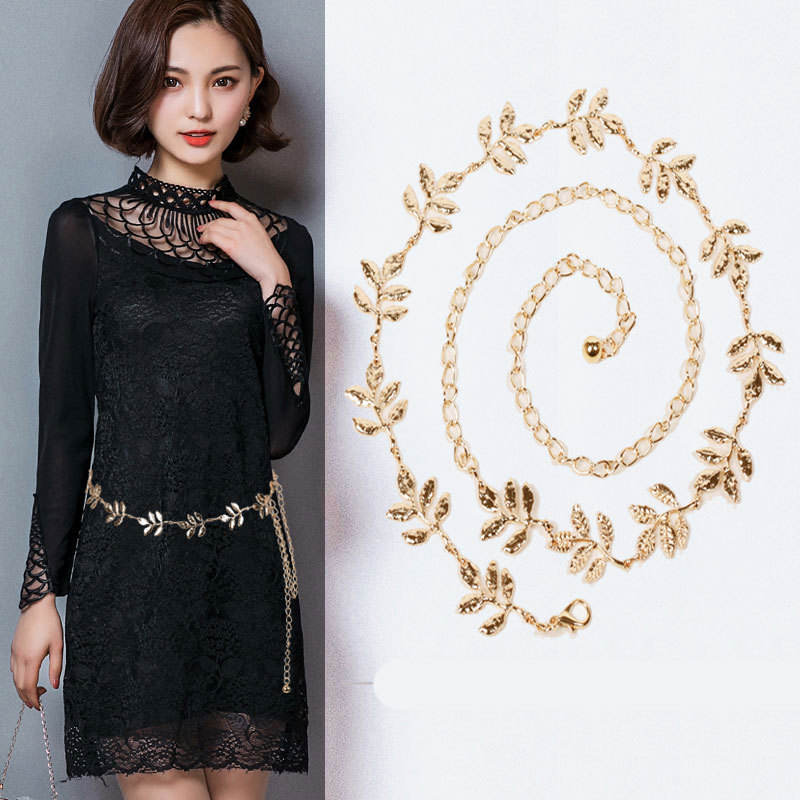 Metal Tree Leaves Belt Women's Fine Decorated Waist Belt Stylish Dress Belt