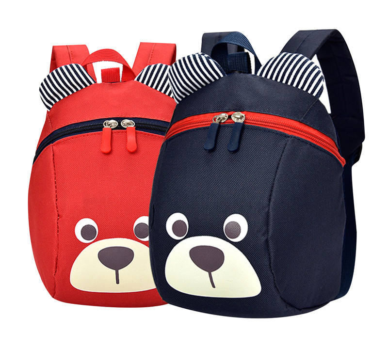 Toddler Preschool Backpack Kids Bag with Leash Children Cute Bear Animal Canvas Kindergarten School Bag for Baby Girls Boys