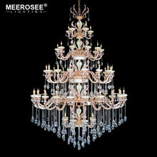 MEEROSEE Empire Wedding Crystal Lights Candle 5 tiers Large Pendant Lighting Luxury Crystals Chandeliers MD17033-L60