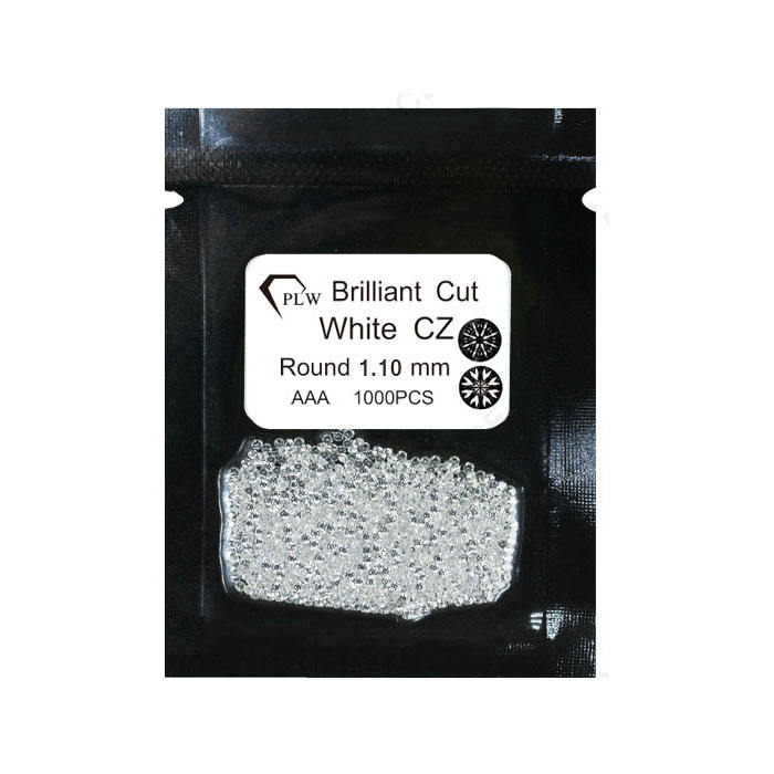 1.3mm 1.4mm 1.5mm 1.6mm 1.7mm round machine cut white cubic zirconia